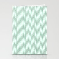 herringbone Stationery Cards featuring Herringbone Mint by Project M