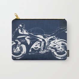 Motorcycle blueprint, 2012 Suzuki GSX-R1000, gift for men, valentine, plano de motocicleta Carry-All Pouch