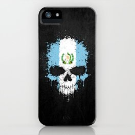 Flag of Guatemala on a Chaotic Splatter Skull iPhone Case