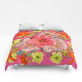 YELLOW PINK & CREAM DAYLILIES COLLAGE Comforters