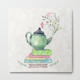 Books & Tea Watercolor Metal Print