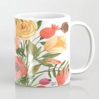oana befort Mugs featuring Garden Flowers by Oana Befort