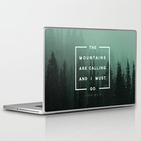 mountains Laptop & iPad Skins featuring The Mountains are Calling by Zeke Tucker