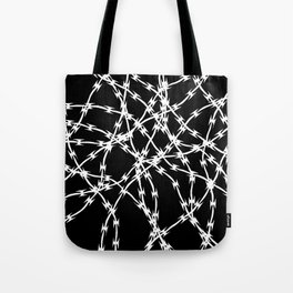 Trapped White on Black Tote Bag