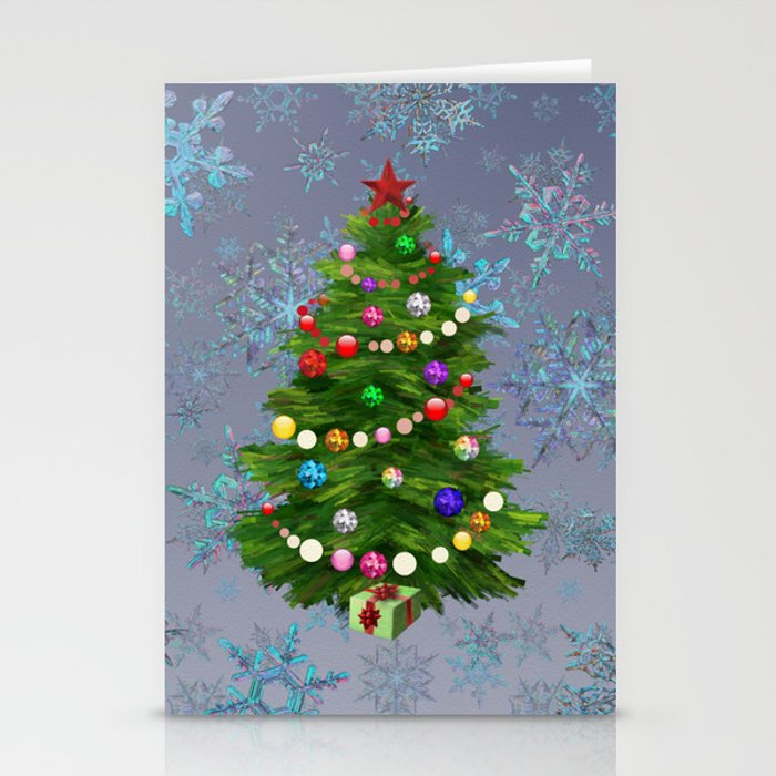 Christmas tree & snow v.2 Stationery Cards