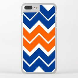 Big Chevron:  Blue + Orange Clear iPhone Case