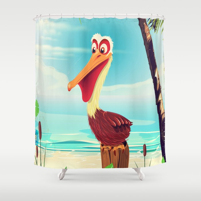 Vintage Pelican On The Beach Shower Curtain By Nicholasgreen