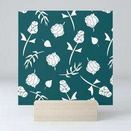 Dark Teal and White Floral Pattern Mini Art Print