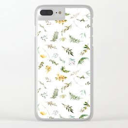 Abstract green yellow watercolor hand painted tropical floral Clear iPhone Case
