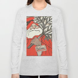 Christmas Pudding And Vintage Santa Vector Long Sleeve T-shirt