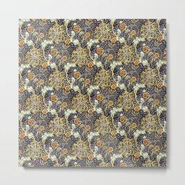 William Morris Variation Periwinkle Blue and Marigold Colors Metal Print
