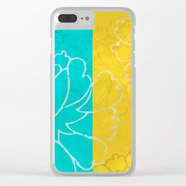 Chinese Flowers & Stripes - Pink Yellow Cyan Red Clear iPhone Case