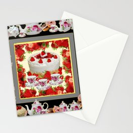 STRAWBERRY CAKE TEA PARTY TEA POTS COMPOSITION Stationery Cards