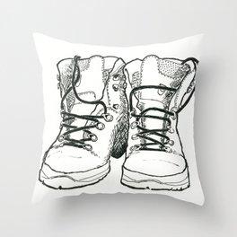 Walking Boots Throw Pillow