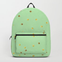 Gold Confetti on Mint Green Backpack