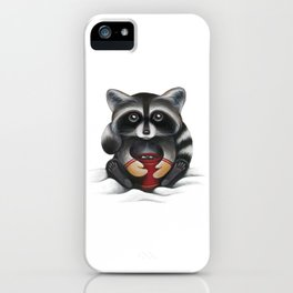 Raccoon with Hot Chocolate iPhone Case