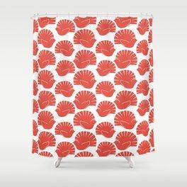 Block Cut Retro NZ Fantail Pattern Shower Curtain
