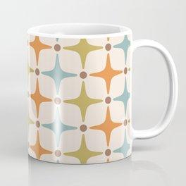 Mid Century Modern Star Pattern 817 Orange Brown Blue and Olive Green Coffee Mug