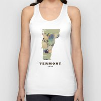 vermont Tank Tops featuring Vermont state map by bri.buckley