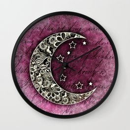 MOON & STARS CELESTIAL TAPESTRY COLLAGE Wall Clock