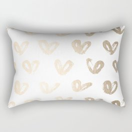 Luxe Gold Hearts on White Rectangular Pillow