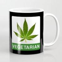 vegetarian Mugs featuring VEGETARIAN Weed by Spyck