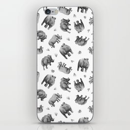 Rhino's Grazing - Black & White iPhone Skin