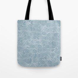 whorl pattern white blue Tote Bag