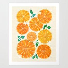 Orange Slices With Blossoms Art Print