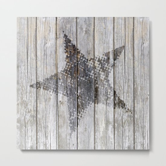 Grunge Star on old weathered grey wood Metal Print