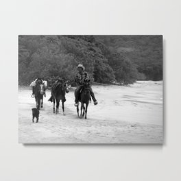 3 Horses, 1 Dog, 1 Man on a Beach Metal Print