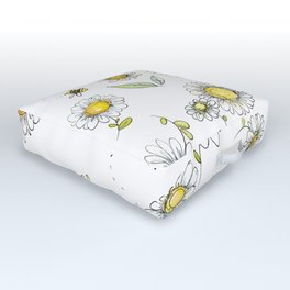 Bees and Daisies Outdoor Floor Cushion