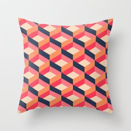 Retro Geo - Navy & Pink Throw Pillow