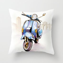 Azzurro Vespa (Motocicletalia) Throw Pillow