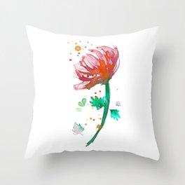 Warm Watercolour Fiordland Flower Throw Pillow