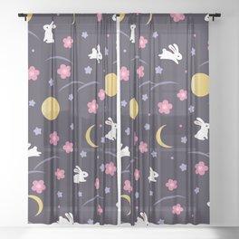 Moon Rabbits V2 Sheer Curtain