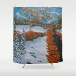 Early fall snow Shower Curtain