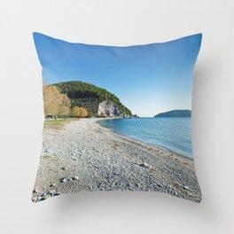 The beach Hovolo of Skopelos island, Greece Throw Pillow