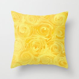 Honey Yellow Roses Abstract Throw Pillow
