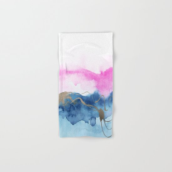 Abstract Watercolor Pink Blue Hand & Bath Towel