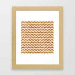 Bisque Gold Glitter Chevron Pattern Framed Art Print