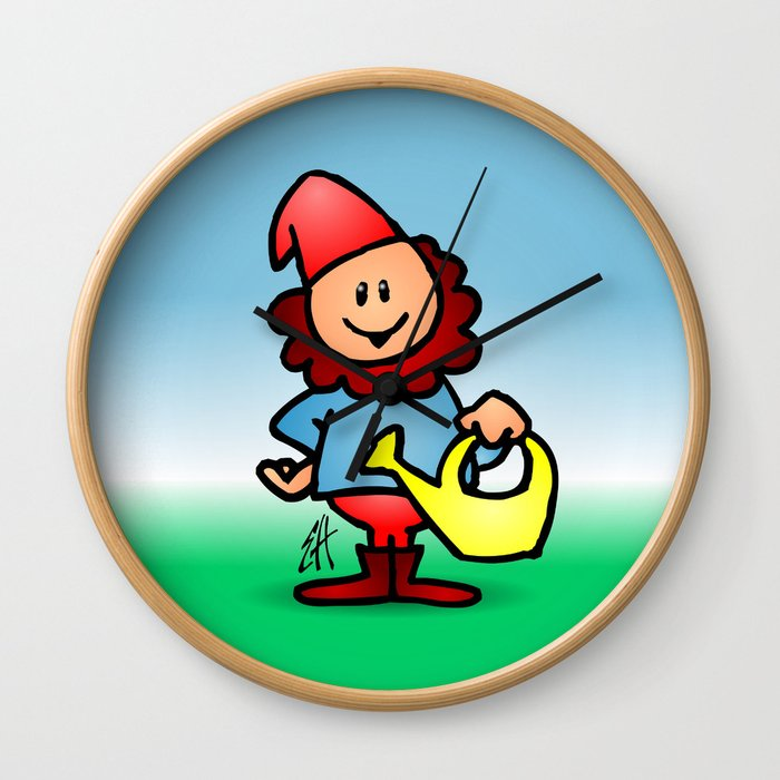 Gnome in the garden Wall Clock