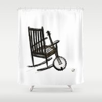 banjo Shower Curtains featuring Grandma's Banjo by LeahOwen