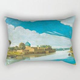 Abdul Qadir al-Rassam - River Scene on the Banks of the Tigris (1920) Rectangular Pillow