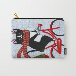 Tuxedo Cat Christmas Bicycle Ride Carry-All Pouch