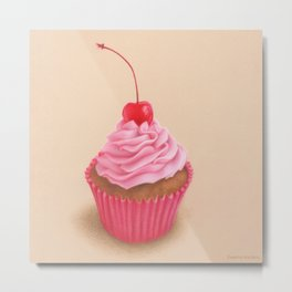 Pink cupcake colored pencil realistic drawing Metal Print