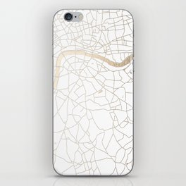 White on Gold London Street Map iPhone Skin