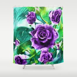 Schönbrunn Palace, Vienna Purple Roses Flower Portrait by Jeanpaul Ferro Shower Curtain