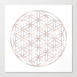 Mandala Rose Gold Flower of Life Canvas Print