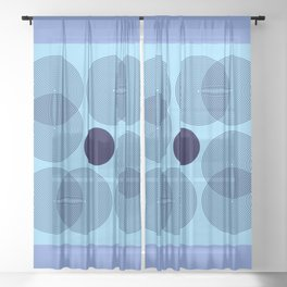 Geometric Flower - Lavender Blue Minimalism Sheer Curtain